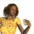 Stock Photo: Dark skinned womin yellow wear