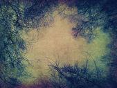 Papel retro com galhos de árvores — Fotografia Stock