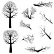 Stock Vector: Bare trees silhouette