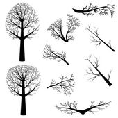 Bare trees silhouette — Stock Vector