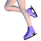 Female Legs in Violet Ice Skates — Stock Photo