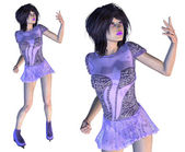 Figure Skater in Violet Dress — Stock Photo