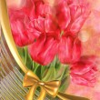 Stock Photo: Tulips on Bokeh Background