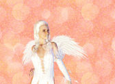 3D Angel on Pink Bokeh Background — Stock Photo