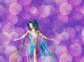 3D Woman on Bokeh Background — Stockfoto