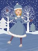 Zima łyżwiarstwie girl — Wektor stockowy