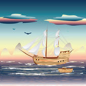 Sailing Ship on the Sea — Stock Vector
