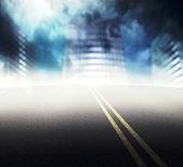 Road to Foggy City — Stock Photo