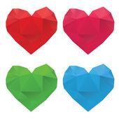 Polygonal Hearts Set — Stock Vector