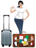 Traveling Girl — Stock Vector