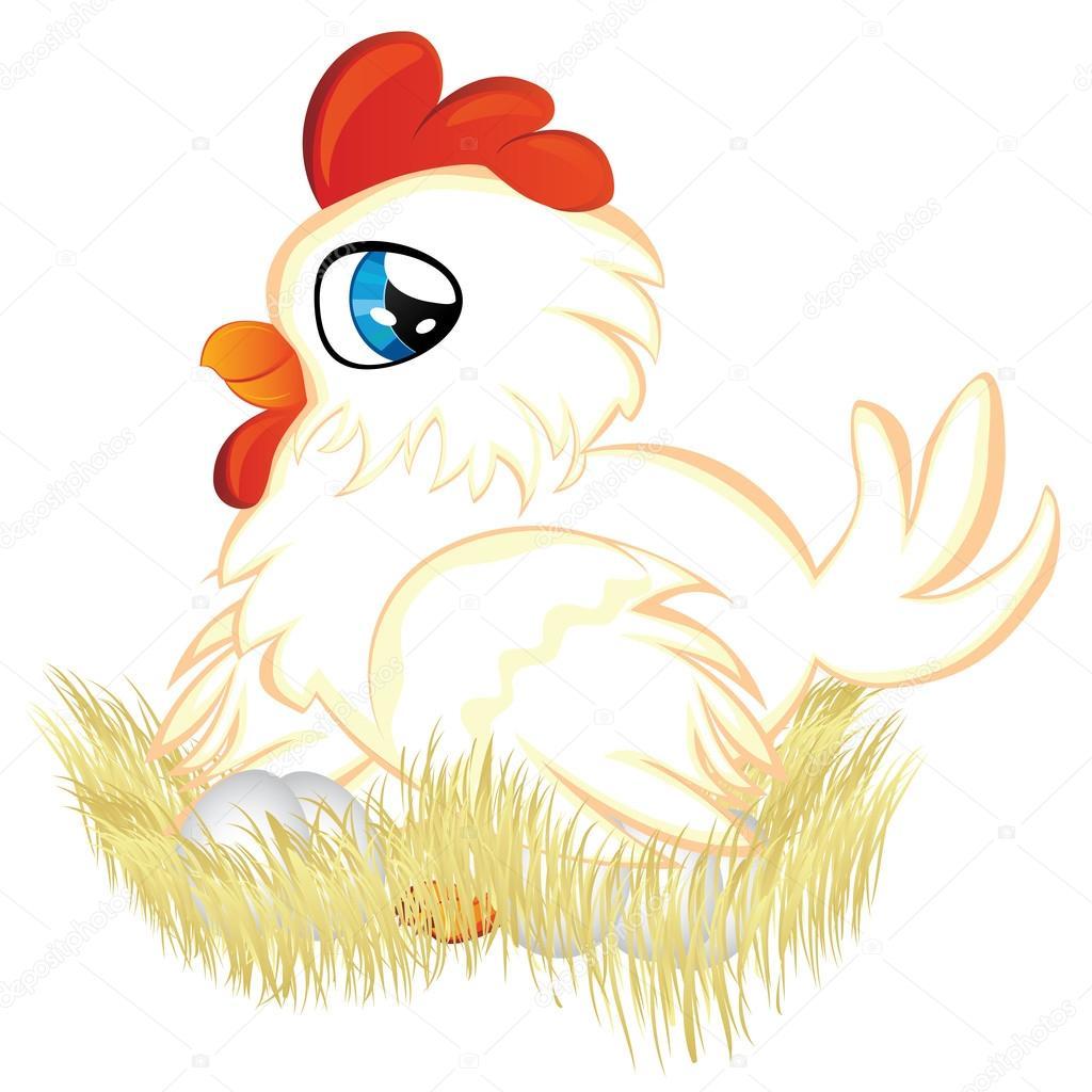 可爱的卡通白 母鸡 把鸡蛋放在她的巢
