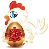 Hen with Golden Egg — Stock Vector