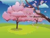 Blühende sakura branch — Stockvektor