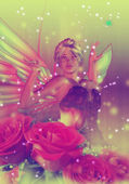 Fairy with Roses — Stock Photo