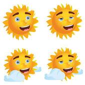 Sonne mit verschiedenen emotionen — Stockvektor