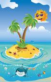 Shark and Tropic Island — Stock Vector