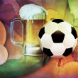 Beer Glass and Soccer Ball — Stock Photo #50332669