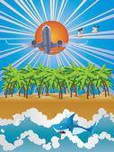 Airplane over Tropic Island — Stock Vector