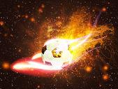 футбольный мяч в огне — Стоковое фото