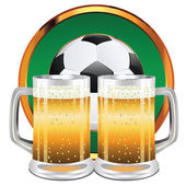 Beer and Soccer Ball — Vector de stock
