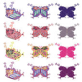 Colorful Butterflies Set — Stock Vector