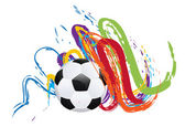 Soccer Ball with Brush Strokes — Stock vektor