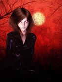 Halloween Night Girl — Stock Photo