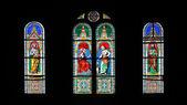 Stain glass window with Jesus — Stock Photo