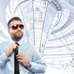 Businessman under Reichstag dome — Stock Photo #13713287