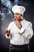 Chef with cigar and cognac — Stock Photo