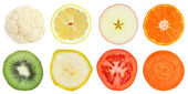 Slices of fruit and vegetables — Stock Photo