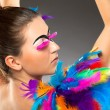 Beautiful young female model with bold make-up — Stock Photo #38108685