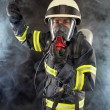 Firefighter in protective gear — Stock Photo
