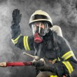 Firefighter at work — Stock Photo