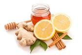 Honey, cinnamon, ginger and lemon — Stock Photo