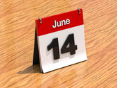 Calendar on desk - June 14th — Foto de Stock