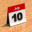 Calendar on desk - July 10th — Stock Photo