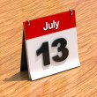 Calendar on desk - July 13th — Stock Photo