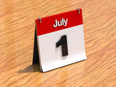 Calendar on desk - July 1st — Stock Photo