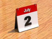 Calendar on desk - July 2nd — Zdjęcie stockowe