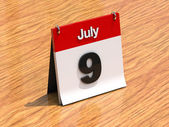 Calendário de mesa - 9 de julho — Foto Stock