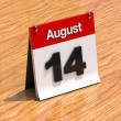 Calendar on desk - August 14th — Stock fotografie