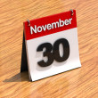 Calendar on desk - November 30th - Stock Photo