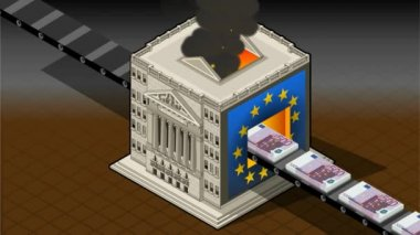 Isometric Stock exchange burning euro — Stock Video