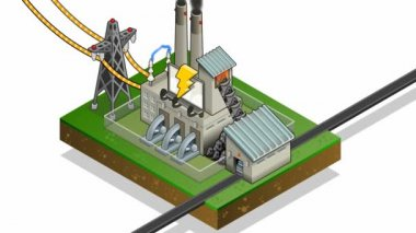 Isometric coal plant in production of energy — Stock Video