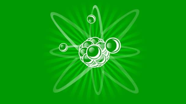 Animación del átomo con núcleo — Vídeo de stock