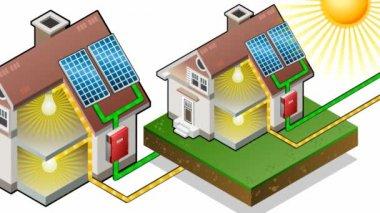 太陽電池パネルと等尺性の家 — ストックビデオ