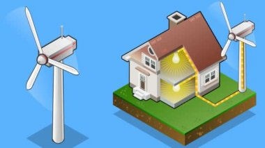 Isometric house with wind turbine — Stock Video