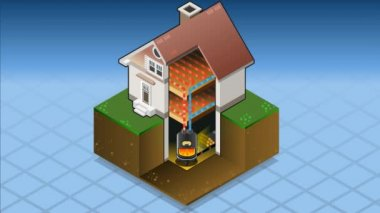 Isometric house with Wood fired boiler in hot production — Stock Video