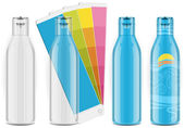 Four plastic bottles with color palette and labels — Stock Vector
